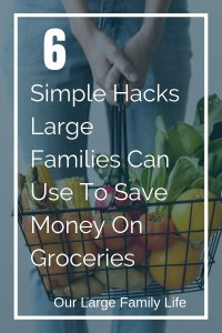 Are you looking for a way to get more frugal with your families' grocery budget? If you have large family check out these simple tips you can use today to start saving money! #savemoney